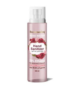 Rosemeticq rosewater hand sanitizer spray • Antiseptic/ disinfectant • Non sticky • Moisturizing / softening • Refreshing with a soothing sell of rose The rosewater hand sanitizer kills 99.9% of germs with a simple formula. Organic ethyl alcohol, pure rosewater, glycerol, Aloe Vera and pure vitamin E oil – that's it! None of the nasty chemicals you find in conventional sanitizers, but just as effective and better. This unique formulation will leave your hands feeling clean, intensely moisturized and smooth with a genuine enchanting rosewater smell that's like walking through aa blooming garden of roses.